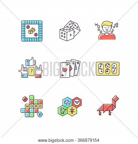 Entertaining Games Rgb Color Icons Set. Traditional Fun Activities For Family Recreation And Friendl
