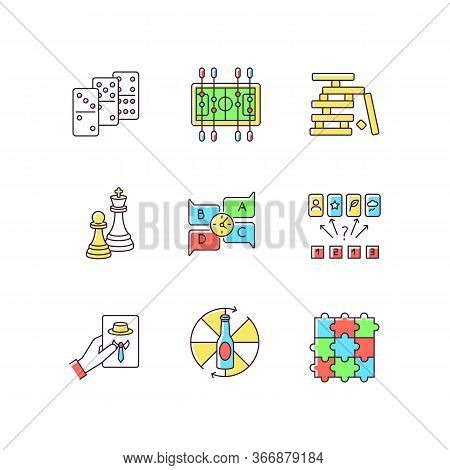 Party Games Rgb Color Icons Set. Recreation Activities, Fun Pastime. Various Competitive And Educati
