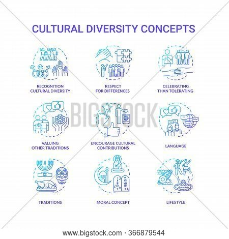 Cultural Diversity Blue Gradient Concept Icons Set. Respect For Different Nationality. Multi Ethnic