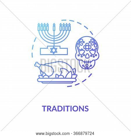 Tradition Blue Gradient Concept Icon. National Heritage. Different Historical Customs. Religious Hol