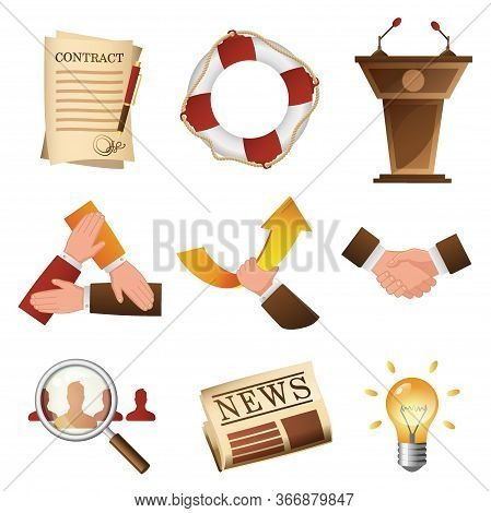 Business Related Objects And People Isolated Cartoon Design Set. Corporate Life Items Vector Illustr