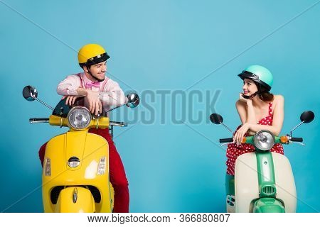 Portrait Of His He Her She Nice Attractive Lovely Cheerful Cheery Couple Sitting On Moped Wearing Fe