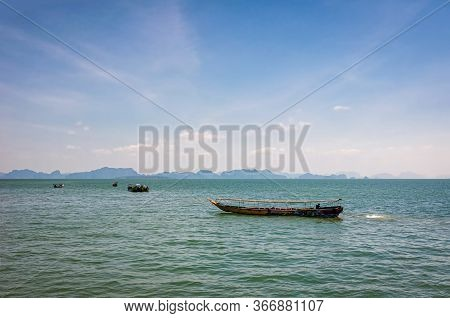 Traditional Thai Longtail Boat In The Sea.