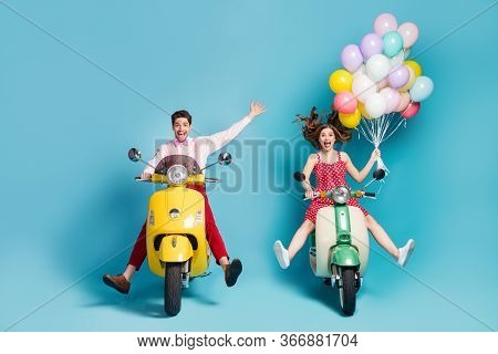 Portrait Of His He Her She Nice Attractive Cheerful Excited Glad Friends Friendship Driving Moped Ha