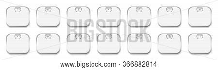 Personal Scales With Different Body Weight Display From 10 To 140. White Personal Scales Set With Si