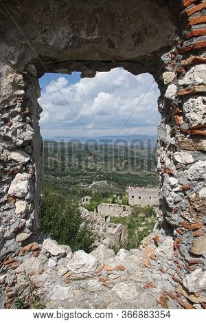 View Of The Ruins Of Mystra From The Loophole. Peloponnese. Greece