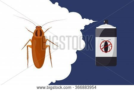 Cockroach Repellent Banner Concept. Insect Repellent Aerosol. Pest, Insect And Bug Control Spray Bot