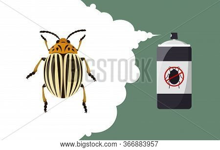 Colorado Beetle Repellent Banner Concept. Insect Repellent Aerosol. Pest, Insect And Bug Control Spr