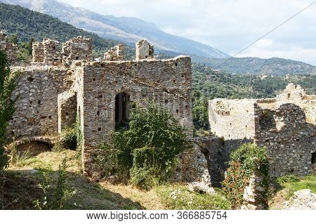 Ruins Of Residential Buildings In The Ancient City Of Mystras. Peloponnese, Greece