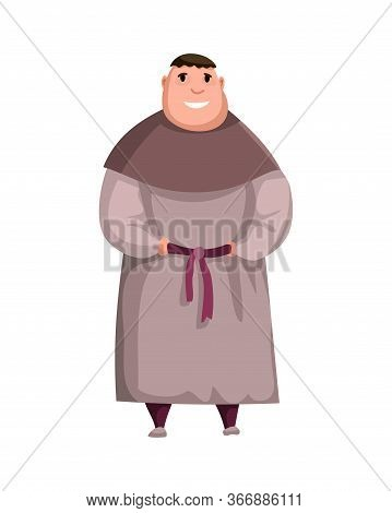 Medieval Kingdom Character. Isolated Monk In Historical Costume On A White Background. Vector Person