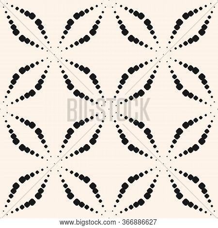Vector Seamless Pattern With Dots. Simple Black And White Geometric Texture With Dotted Halftone Cro