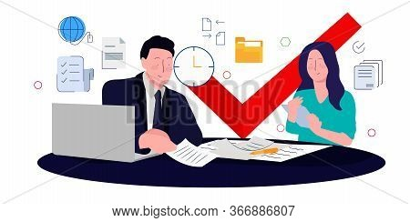 Manager Is Validating Customer Data Submitted By His Female Staff. Red Check Mark Concept Approval I