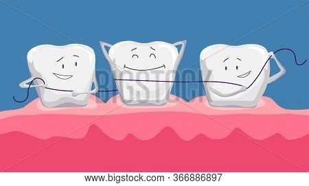 Funny Clean Teeth. Dental Floss. Use Hygiene Floss For Teeth. Oral Health Care Concept. Mouth And Te