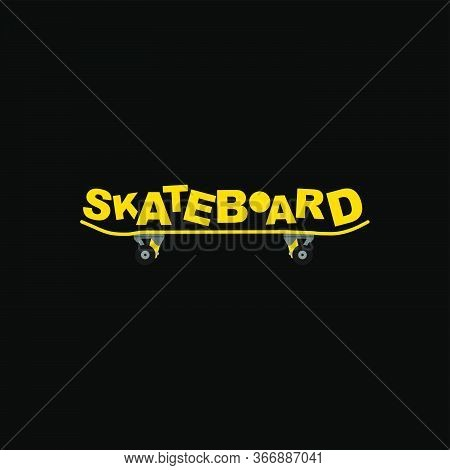 Vector Illustration Of Skateboard View From Side With Skateboard Text. Good For Skateboard Sport Des