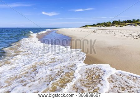 Beautiful Sandy Beach On Hel Peninsula, Baltic Sea, Pomeranian Voivodeship, Poland. Hel Is A 35-km-l