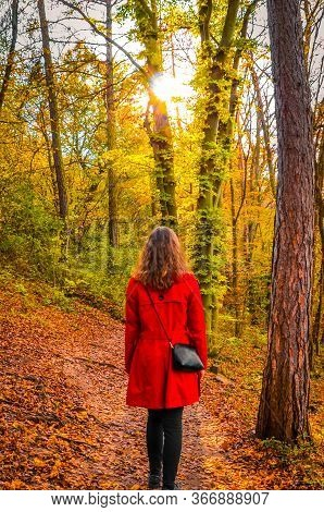 Young Caucasian Woman In A Red Coat On A Path In A Colorful Autumn Forest. Sun Shining Through The T