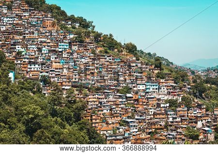 Red Brick Houses In Favela On The Hill In Rio De Janeiro City, Brazil