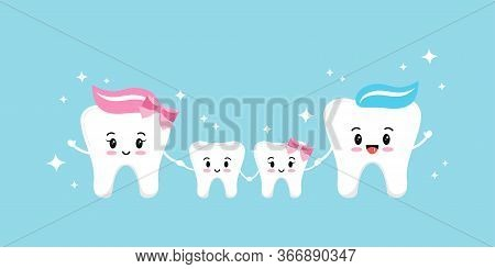 Happy Teeth Family Isolated On Blue Background. Smiling Emoji Faces Teeth Family - Mum, Dad, Son, Da