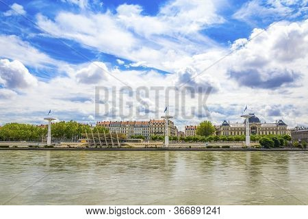 Shore Of The Rhone River In Center Of Lyon City, Auvergne-rhone-alpes Region, France