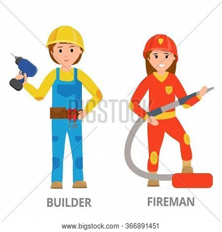 Women Hard Working In Non-traditional Man Roles, Profession: Police, Security, Driver, Firefighter,