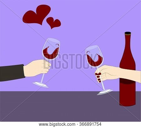 Hands Hold Glasses With Wine. A Bottle Of Wine In The Background. Loving Couple Is Having Dinner. Ro