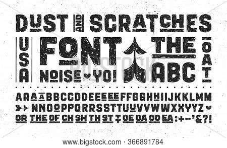 Hand-drawn Alphabet And Font. Bold, Regular And Medium Uppercase Letters, Alternative Characters. Cr