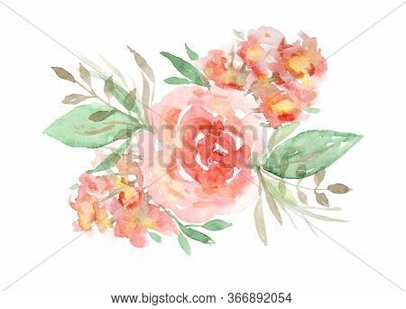 Delicate Watercolor Red And Orange Roses Floral Bouquet. Colorful Painting Flowers Composition With