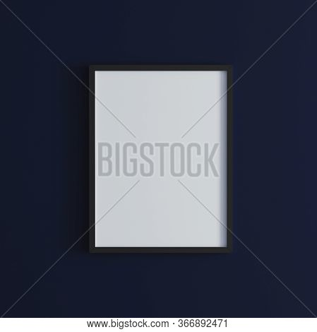 Blank Frame On Dark Blue Wall Mock Up, Vertical Black Poster Frame On Wall,  Picture Frame Isolated
