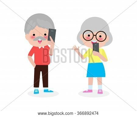 Old People Couple With Smartphone, Elderly With Mobile, Senior With Gadgets, People With Their Smart