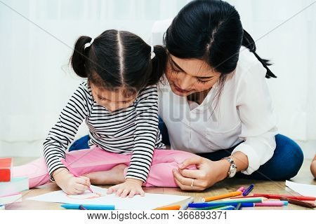 Happy Family Child Kid Girl Son Kindergarten Drawing On Peper Teacher Education With Beautiful Mothe