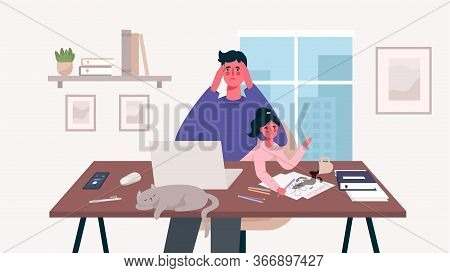 Busy Stressed Dad Sits With A Baby And Works At A Laptop, Multitasking Man. Home Office. Father Free