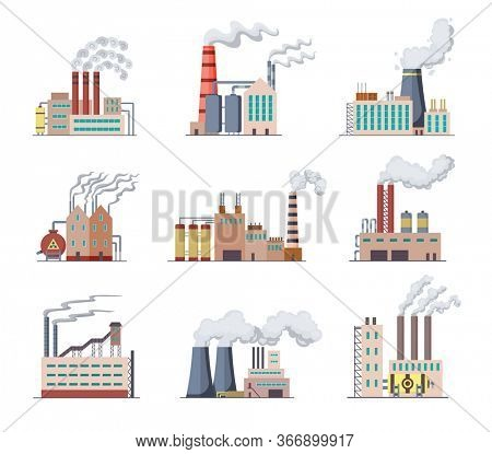 Set of Factories and power plants flat design of illustration. Manufactory industrial buildings refinery factory or Nuclear Power Stations. Building big of plants or factorys with pipe smoke