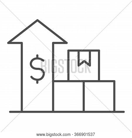Boxes With Up Arrow And Dollar Thin Line Icon, Delivery And Logistics Symbol, Delivery Finance Graph