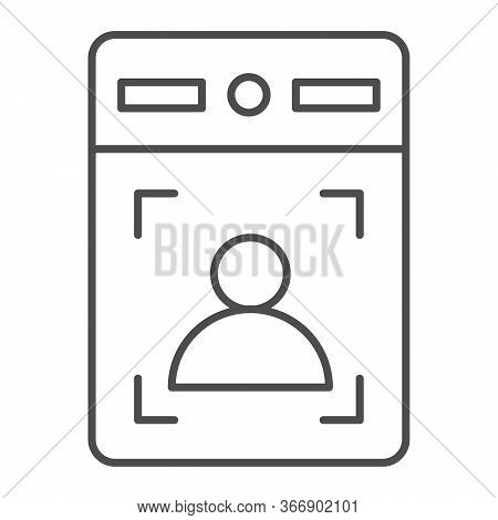 Intercom With Guest Thin Line Icon, Smart Home Symbol, Person Recognition Vector Sign On White Backg