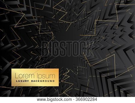 Minimalist Black Premium Exclusive Background. Vector Luxury Dark And Golden Gradient Geometric Elem