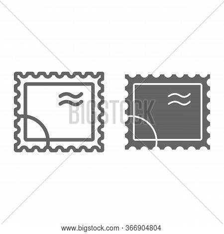 Postal Stamp Line And Solid Icon, Delivery Symbol, Paper Retro Post Stamp Vector Sign On White Backg