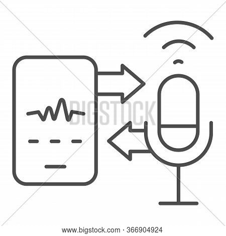 Microphone And Sound Recording With Smartphone Thin Line Icon, Smart Home Multimedia Symbol, Speech