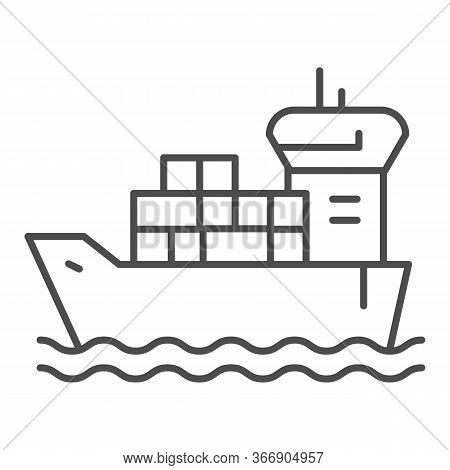 Shipping Vessel With Containers Thin Line Icon, Delivery And Logistics Symbol, Cargo Ship Vector Sig