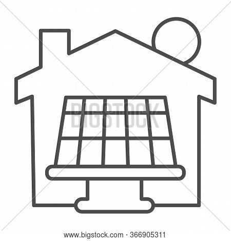 Solar Battery With Sun And House Thin Line Icon, Smart Home Symbol, Solar Panels Batteries And Green