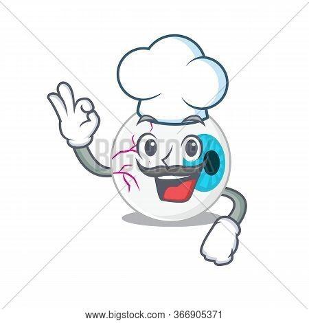 Talented Eyeball Chef Cartoon Drawing Wearing Chef Hat
