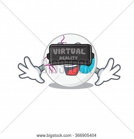 A Cartoon Image Of Eyeball Using Modern Virtual Reality Headset
