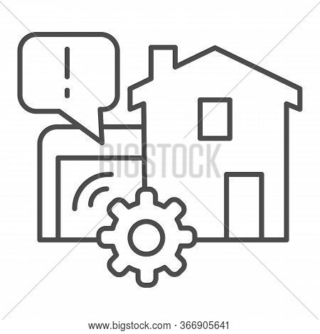 House Garage With Mechanic Gear Thin Line Icon, Smart Home Symbol, Automated Door With Remote Contro