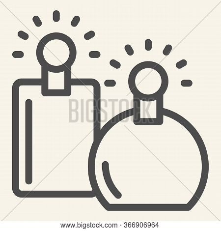 Perfumes Line Icon. Two Perfume Fragrance Bottles Symbol, Outline Style Pictogram On Beige Backgroun