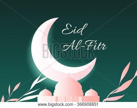 Islamic Eid Al-fitr Festival Greeting Card, Night Scene Of Shining Moon, Mosque And Leaves