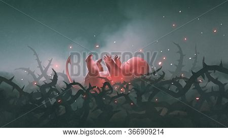 The Red Newborn Baby Laying In Thorn Branches, Digital Art Style, Illustration Painting