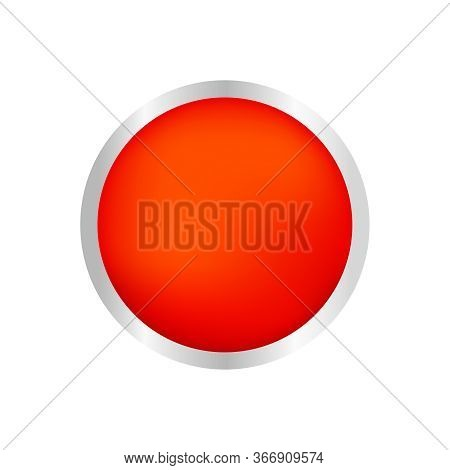 Button Circle Shape Red For Buttons Games Play Isolated On White, Red Modern Buttons Simple And Conv