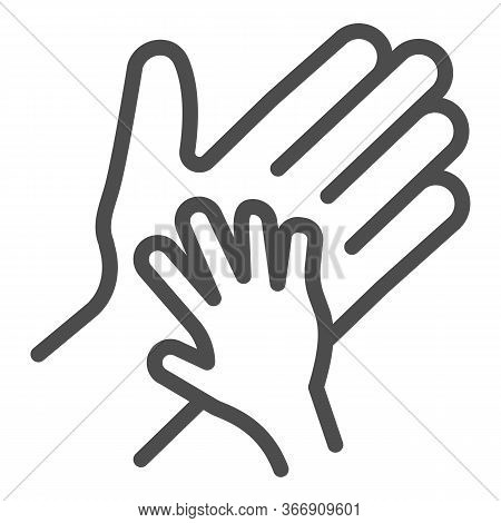 Child Palm In Adult Hand Line Icon, 1st June Children Protection Day Concept, Parent And Kid Hands S