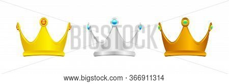 Gold Silver And Copper Crown Isolated On White, Luxury Crown For Icon, Vintage Crown Luxury