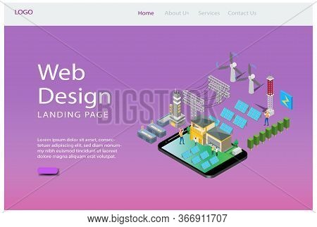 Modern Isometric Web Landing Page Teamwork Planning Illustration, Web Banners, Suitable For Diagrams
