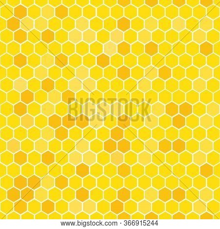 Orange Seamless Honey Combs Pattern. Vector Illustration.
